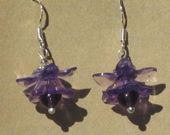 Fairy Flower Earrings with Amethyst Beads