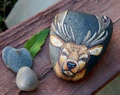 STAG Hand Painted Rocks DEER Rock Art Forest Creatures Spirit Guides Lotus and Nightshade Woodland Animal Totem Buck Stone Altar Tools