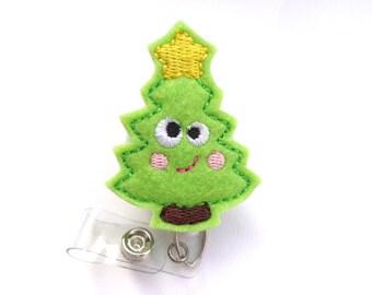 Christmas Badge Reel ID Holder Retractable - Merry merry Christmas Tree - lime green felt - nurse badge holder medical badge reel