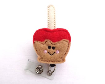 SALE - Retractable Badge Holder Retractable - Caramel apple - red and tan felt - nurse medical staff teacher badge reel