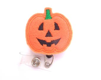 SALE Halloween Badge Reel ID Holder Retractable - Jack o lantern - orange pumpkin - Nurses RN office students techs