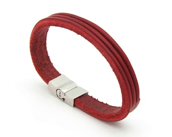 Red leather bracelet, Minimalist cuff bracelet, Red cuff bracelet  - the TRI Cuff