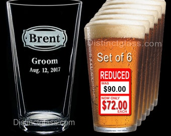 Groomsman - Best Man - Groom - Set of 6 Personalized Etched PINT BEER GLASS - Ships to Canada