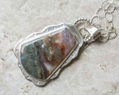 Prudent Man Agate Pendant in Sterling Silver Handcrafted