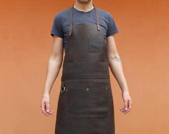 Leather Apron, Chefs Apron, Rugged Leather Apron, Men's Leather Work Apron with Pockets, Tremo Deluxe Brass Hardware AP1a