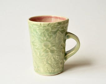 Mug with Australian Flannel Flower design - Pale green celadon stoneware ceramic cup