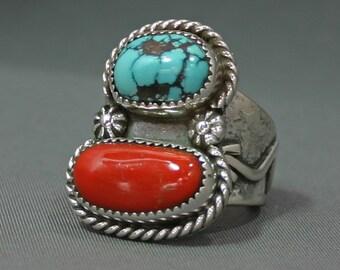 Mans Turquoise ring Bisbee  Mine & Mediterranean red coral   Jim Saunders artsit , RG-559