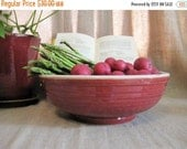 Vintage Large Ironstone or Stoneware Bowl / Large Farmhouse Red and Off-White Bowl / Very Vintage Faded Red Bowl for Fruit, Veggies, Display