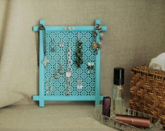 Beach Cottage Jewelry Organizer in Turquoise / Unique Jewelry Display Earring Organizer  Upcycled Frame Jewelry Organizer