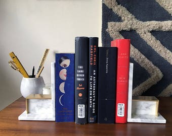 Calacatta Marble and Brass Bookends book ends