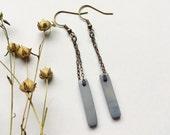 Gray earrings. Long simple earrings. Lavender gray earrings. Light weight dangle earrings. Sela Designs. READY TO SHIP. Stocking stuffers