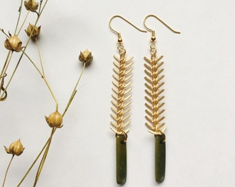 Olive Green earrings. Long Earrings. Gold dangle earrings. Green earrings. Sela Designs. READY TO SHIP. Gold fish bone chain. Olive and gold