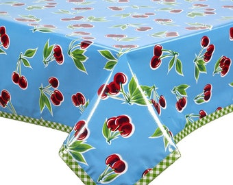 Rectangle Cherry Light Blue with Lime Gingham Trim Oilcloth Tablecloth