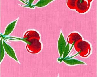 Large Round Oilcloth Tablecloth Cherry Pink