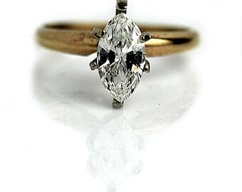 Marquis Engagement Ring 1.00ctw Solitiare Marquis Diamond Ring Vintage Marquis GIA 14K Two Tone Gold Solitaire Engagement Ring Vintage Ring!