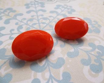 18X13mm Orange Cabochons - Czech Glass Stones - Oval - Qty 2