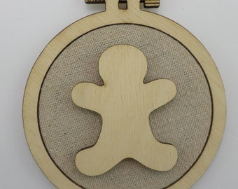Christmas Gingerbread - Laser cut embroidery hoop with quality textile