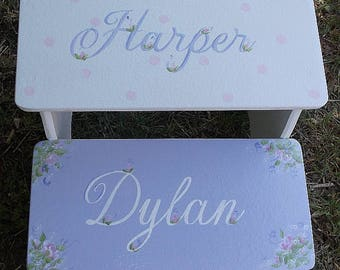 Lavender Nursery, Lavender roses, Nursery decor, Bathroom Stool, Childrens wood step stool, Kids Benches, Personalized gifts, Purple, Lilac