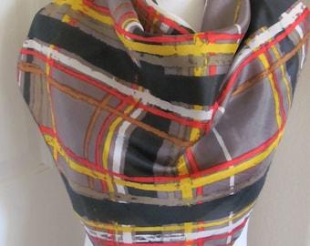 "Beautiful Gray Brown Vintage Ladies Silk Scarf  - 28"" Inch 66cm Square"