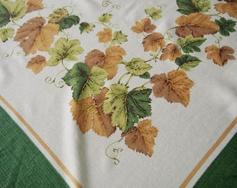 Ivy Grape Leaves Covered Tablecloth Vintage 1970s Greens Gold Brown 52 x 58