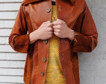 Vtg 60s DAWN LEATHER Handmade Woostock Jacket