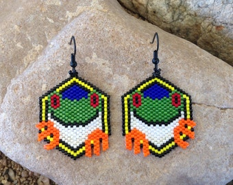 Green Frog Beaded Earrings