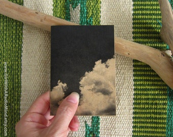 Cloud Notebook Black White Art Print - Mini Pocket Travelers' Journal - Nature Series Sky Cloud