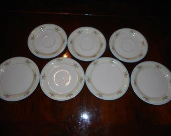 Vintage Homer Laughlin Eggshell Made in U.S.A. B45 N6  Virginia Roses / Set of 7 - 4 dessert plates & 3 saucers