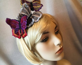 Embroidered 3 Piece Butterflly Headband