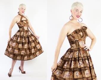 EXOTIC 1950s New Look Hawaiian Cotton Halter Sun Dress w Elastic Ruching, 3D Winged Shelf Bust, Seashell Novelty Print by Desmond's - XS / S