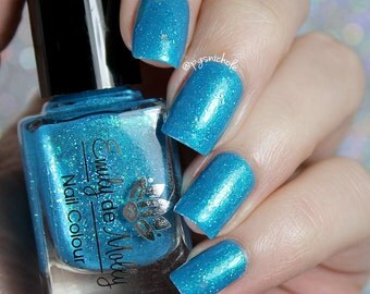 """Nail polish - """"Lifes Highlights"""" iridescent flakies in a bright blue jelly base"""