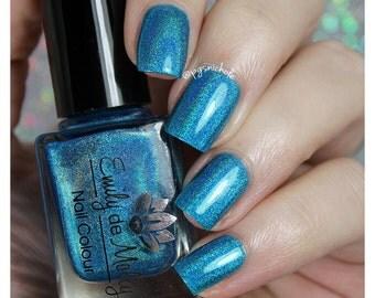"Nail polish - ""Vertical Control"" bright blue linear holographic polish"
