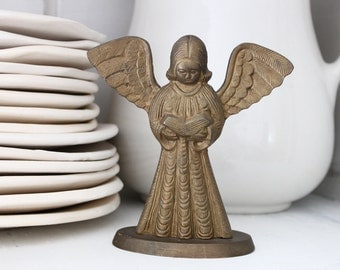 Antique ANGEL brass bronze Patina, Metal base, European Nordic French, Jeanne d Arc Living style