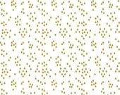 White and Gold Metallic Rain Drop Fabric, When Skies Are Grey by Simple Simon & Cmpany for Riley Blake, Skies Rain in Gold, 1 Yard