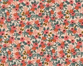 Peach Green and Red Floral Cotton Fabric, Les Fleurs by Rifle Paper Co for Cotton and Steel, Rosa in Peach, 1 Yard