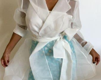 Gorgeous Vintage Tadashi Formal chiffon White Wrap/Dress