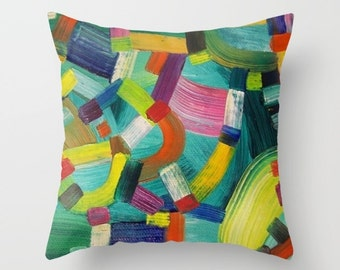 Abstract Throw Pillow Floral Artwork printed on Pillow Red Blue
