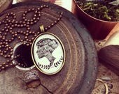 SMALL she knew who she was and WHOSE she was (Ephesians 1:4) cameo necklace