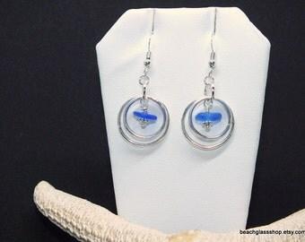 Sea Glass Earrings - Sterling Earrings - Blue Earrings - Lake Erie Earrings - FREE Shipping inside the United States