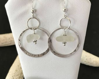 Sterling Sea Glass Earrings - Lake Erie Beach Glass - Gift for Mom - Beach Jewelry - FREE Shipping inside the United States