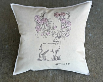 Rosie Deer, Flower Antlers Woodland Embroidered Pillow