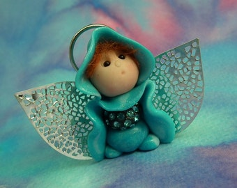"""Tiny Winged Ice-Flurrier Angel Gnome 'Keira' 1+3/4"""" with halo by Sculpture Artist Ann Galvin Art Doll"""