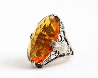 Sale - Vintage Art Deco Sterling Silver Simulated Citrine Ring - Antique 1920s Filigree Orange Yellow Glass Stone Oval Statement Jewelry