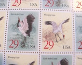 Cranes Full Sheet of 20 UNused Vintage US Postage Stamps 29c Whooping Crane Black-Necked Crane Birds China Save the Date Wedding Postage