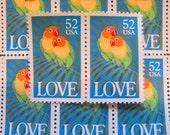 Love Birds 20 UNused Vintage US Postage Stamps 52c 1991 Rainbow Parrots Honolulu Hawaii Valentine's  Day Save the Date Wedding Postage RSVP