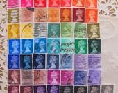 Royal Rainbow 50 Vintage Great Britain Postage Stamps Machin Machins QE2 Queen Elizabeth II British UK Queen Mum Mothers Day GB Philately