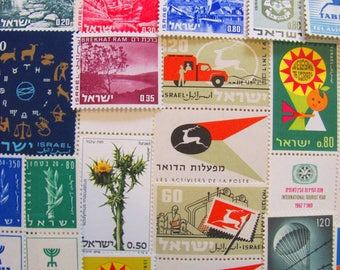 Shalom 50 Premium Vintage Israeli Postage Stamps Holy Land Israel Jewish Orthodox Hebrew Hanukkah Yom Kippur Yiddish Tel-Aviv Bethlehem