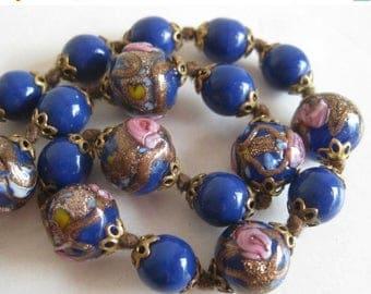 SPRING SALE Vintage 40s Italian Venetian Blue Gold Fleck Art Glass Graduated Bead Necklace