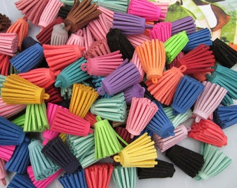 Tassel, tassels, tassel pendant,50pcs assorted colors Suede Leather Tassels, mini tassels, faux suede tassels, leather string tassels 29mm
