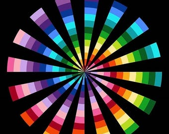 "on sale Spiral Rainbow Northcott Quilt Fabric Panel 24"" x 44"""